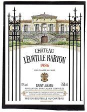 SAINT JULIEN 2E GCC ETIQUETTE CHATEAU LEOVILLE BARTON 1986 75 CL RARE §29/09/16§