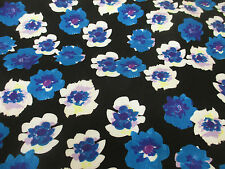 Black & Turquoise Poppy, Floral 100% Viscose Twill Summer Printed Dress Fabric.
