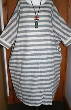 "Plus Size WIDE Striped Kaftan Dress 70+"" Bust Cotton & Linen Grey & Beige Boho"