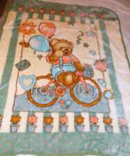 NEW TEDDY BEAR RIDING HIS BIKE KOREAN STYLE PLUSH MINK SOFT BABY BOY BLANKET