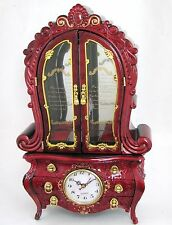 NEW RED+GOLD TONE DELUXE FRENCH CABINET STYLE CLOCK,JEWELRY+MUSIC BOX
