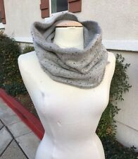 NEW! HALOGEN Gray Silver CASHMERE Wool REVERSIBLE Infinity Snood Scarf, O/S
