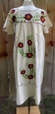 Mexican Dress Embroidered Burgundy Flowers Vtg Oaxacan Peasant Huipil Manta