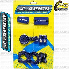 Apico Bling Pack Blue Blocks Caps Plugs Clamp Covers For Kawasaki KX 450F 2013