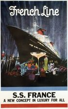 """S.S. FRANCE / FRENCH LINE"" Affiche originale entoilée 1960 B. PEAK  79x120cm"