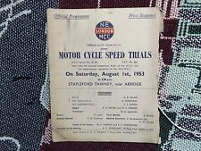 1953 MOTOR CYCLE SPEED TRIALS PROGRAMME 1/8/53 - STAPLEFORD TAWNEY ABRIDGE