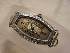 Vintage 14K GOLD FD antique 1920 Art Deco Lady BULOVA SAPPHIRE HERMETIC watch NR