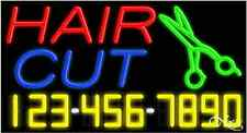 """NEW """"HAIR CUT"""" W/YOUR PHONE NUMBER 37x20 REAL NEON SIGN W/CUSTOM OPTIONS 15005"""