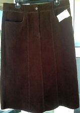 Womens 14 Christopher Banks A-Line Skirt Brown Corduroy Long Modest Stretch