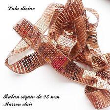 Ruban / Galon séquin paillette de 25 mm, vendu au mètre : Marron clair