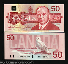 CANADA $50 P98A 1988 KING SNOWY OWL KING UNC THIESSEN / CROW CURRENCY BANK NOTE