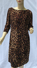 Ralph Lauren Dress 14 Petite Leopard Safari Print Brown Tan Cruise Party New
