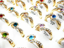 Wholesale Lots of 10PCS Gold Plated Rhinestone Crystal Rings J34