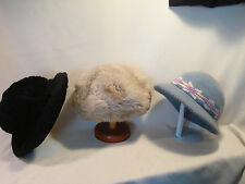 Lot Of 3......Vintage - Fur, Knitted, & Lambs Wool.....Hats