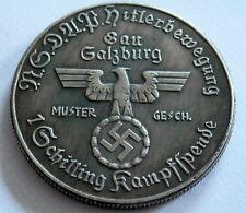 WW2 ADOLF HITLER GERMAN EXONUMIA 1 SCHILLING COIN   SILVERED