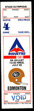 Montreal Alouettes vs Edmonton Eskimos July 26 1981 Unissued Void Ticket
