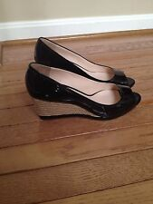 PRADA OPEN TOE WEDGE SANDALS IN BLACK PATENT 39 $490 (WORN 1X!)