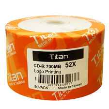 50-Pack 52X TITAN Logo Blank CD-R CDR Recordable Disc 80Min/700MB