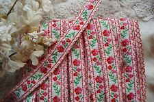 "1y VTG 5/8"" FRENCH PINK RED FLOWERS WOVEN JACQUARD NOVELTY RIBBON TRIM COTTAGE"