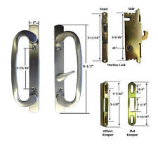 Patio Door Handle Kit Mortise Lock Keepers, B-Position, Brushed Chrome,Non-Keyed
