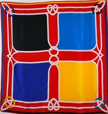 Ginnie Johansen 35 X 35 Silk Ladies Scarf Vibrant Colors 1987 Reds Yellow Blue