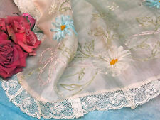 ANTIQUE pink SILK apron RIBBON-WORK embroidery LACE for FABRIC doll clothes TRIM