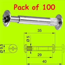 100x connector bolts M4 30-40mm kitchen/bedroom cabinet/cupboard furniture