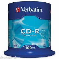 Verbatim 43411 Cd-r protección adicional Cd Grabable Discos Cdr 700 Mb 100 Pack