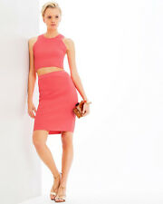 NWT Jonathan Simkhai Coral Pink Hex Fence Set - Stretch Pencil Skirt M & Top S