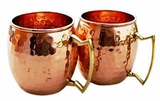 Hammered Copper Moscow Mule Mug Handmade of 100% Pure Copper Brass Handle Ham...