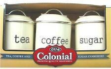 D.line Colonial Set of 3 Canisters 1 Litre White - Coffee, Tea, Sugar