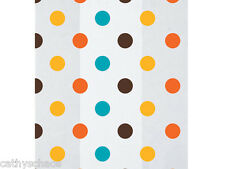 """100 Halloween Thanksgiving Polka Dots Cello 4x9"""" Gift Bags Candy Apples Party"""