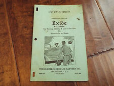 Vintage 1938 Instructions Installing Operating EXIDE Batteries Automobiles Boats