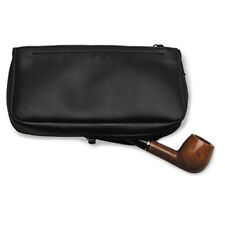 Black Imitation Leather Combination Pipe & Tobacco Vinyl Lined Zipper Pouch 1182