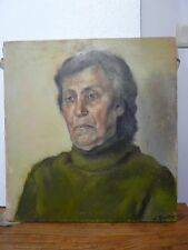 VINTAGE EUROPEAN ARTIST OLD WOMAN  PORTRAIT OIL PAINTING