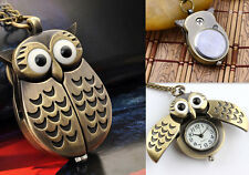 Pocket watch Chain Pendant Necklace Statement Fashion Vintage owl necklace