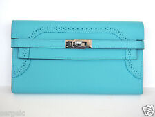 LIMITED! Authentic NEW Hermes Kelly Long Wallet Ghillies Blue Atoll PHW Clutch