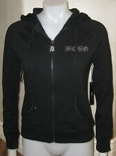 WOMENS BCBG MAX AZRIA SWEATER BLACK S SM NEW $160 zip up JACKET hooded butterfly