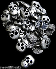 8 SILVER METAL SKULL BUTTONS! GOTHIC PUNK PIRATE BIKER SKELETON  DAY OF THE DEAD