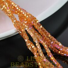 100pcs 3mm Cube Square Faceted Crystal Glass Loose Spacer Beads Gold Rose