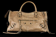 BALENCIAGA $1,875 Argilla Clay Lambskin Classic PART TIME Motorcycle Bag