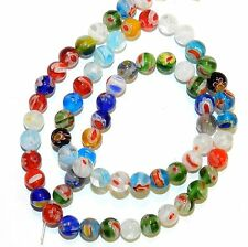 """G4244L2 Assorted Color Multi-Flower Millefiori 5mm Round Glass (65 Beads) 13"""""""
