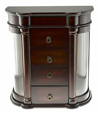 "Classic Charry finish jewelry box Organizer Storage Container 13""H x 12""W x 6""D"