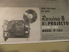Instructions film projector REXINA 8 P-103 8mm  CD/Email