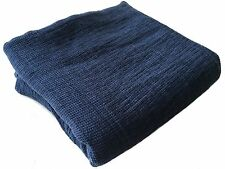 Plaid Decke Lacken Bettüberwurf 100% Leinen 220x138 cm Waffel Stonewashed blau