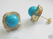 Genuine 10mm Blue Turquoise South Sea Shell Pearl 14K Gold Plated Stud Earrings