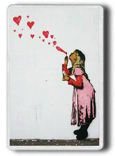 BANKSY LOVE GIRL HEARTS? LARGE SIZE FRIDGE MAGNET! JUMBO SIZE