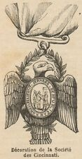 C8734 Decoration of the Society of Cincinnati - Stampa antica - 1892 Engraving