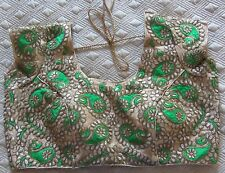 NEW Ready-Made Designer Padded Sari Blouse Choli Gold Green Paisley Embroidery