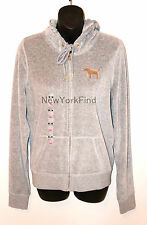 VICTORIA'S SECRET LOVE PINK Sequin BLING Hoodie Grey GOLD Sequence Top MEDIUM M